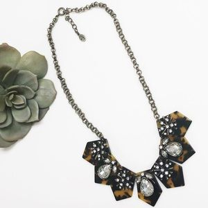 LOFT Tortoise & Crystal Statement Necklace